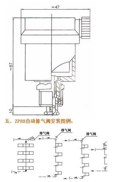 四,zp88内螺纹自动排气阀技术图片: 六,zp88内螺纹自动排气阀订货图片